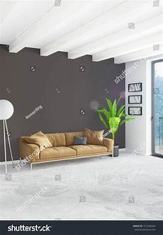 Grey Sleeper Sofa 3d Image by White Bedroom Minimal Style Interior Design With Wood Wall