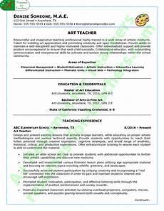 Art Teacher Resume Samples Art Teacher Resume Sample Page 1
