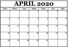 Monthly 2020 Calendar Printable Free Printable Calendar 2020 April Monthly Web Galaxy