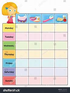 Daily Routine Format Illustration Daily Routine Chart Eps Vector Stock