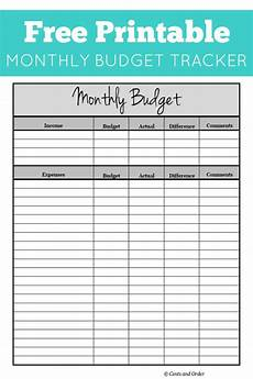 Budget And Expenses Free Monthly Budget Printable