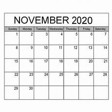 November 2020 Calendar Printable Blank November 2020 Calendar Editable Printable Calendar