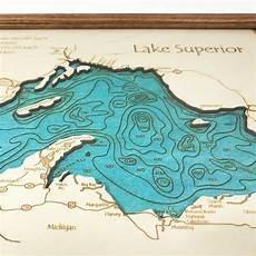 Lesser Lake Depth Chart Lake Superior Single Depth Nautical Wood Chart 8 Quot X 10