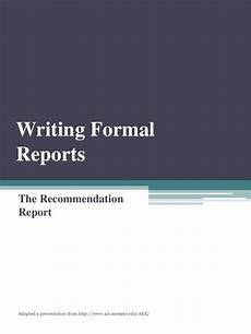 Template For A Report Recommendation Report