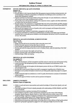 Quality Engineer Sample Resume Principal Quality Engineer Resume Samples Velvet Jobs