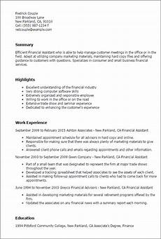 Finance Assistant Cv Financial Assistant Resume Template Best Design Amp Tips