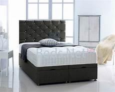black chenille ottoman divan bed with headboard mattress