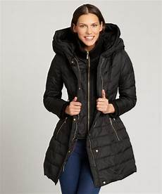 kensie coats for neumaticos lyst kensie black hooded zip bib belted coat in black