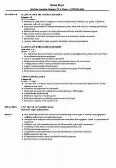 Working Knowledge Resumes Technician Rd Shift Resume Samples Velvet Jobs