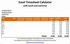 Excel Time Clock Calculator Free Excel Time Card Calculator With Lunch And Overtime