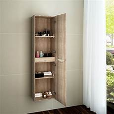 bathroom oak side unit cabinet storage unit wall hung