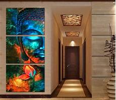 framed 3pcs abstract blue buddha modern home decor canvas