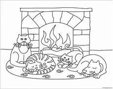 winter with animals coloring page free