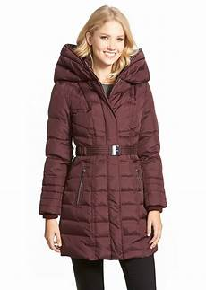 kensie kensie belted hooded feather fill coat