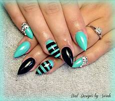 Black And Teal Nail Designs Teal Amp Black Stiletto Nails Nailed It Pinterest