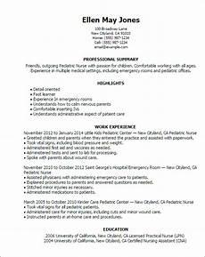 Pediatric Nursing Resume 1 Pediatric Nurse Resume Templates Try Them Now