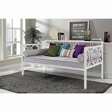 size modern white metal daybed with circular motifs