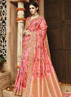 light pink pure banarasi silk wedding saree 1216