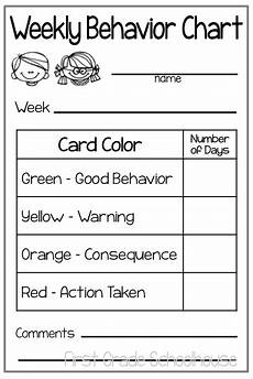 Weekly Behavior Chart First Grade Schoolhouse August 2014