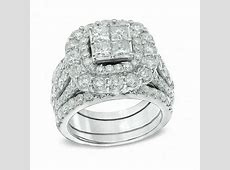 5 CT. T.W. Quad Princess Cut Diamond Double Frame Bridal