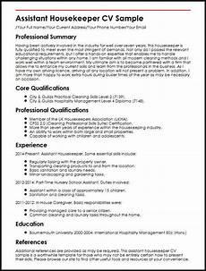 Housekeeping Aide Resume Assistant Housekeeper Cv Sample Myperfectcv