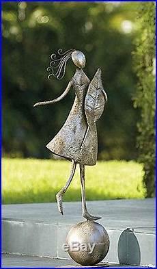 set 2 garden statues antique silver steel