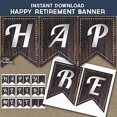 Happy Retirement Banner Printable Printable Happy Retirement Banner Rustic Wood Silver