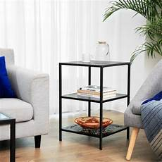 vasagle side table with 2 glass table surfaces storage