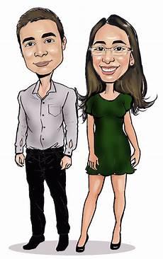desenho digital caricatura casal noivos casamento