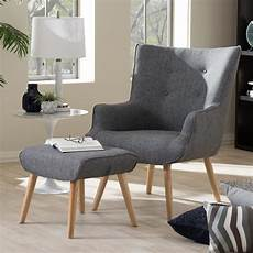 accent chair and ottoman baxton studio nola mid century gray fabric upholstered
