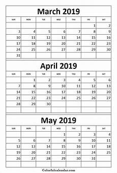 2020 Three Month Calendar Print Calendar 2019 March April May Print Calendar 3
