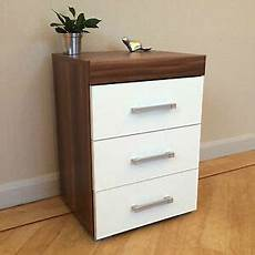 3 drawer white walnut bedside cabinet table 3 draw