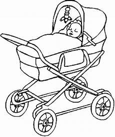 kleurplaat baby in kinderwagen mutter mit im