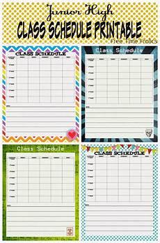 Make Your Own Class Schedule Junior High Class Schedule Printable School Schedule