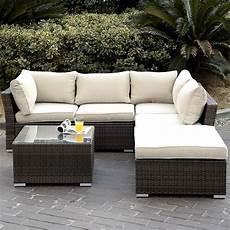 6pc patio sectional furniture pe wicker rattan sofa set
