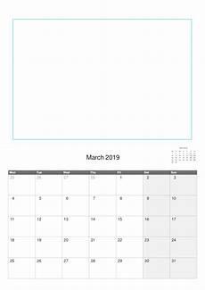 A4 Calendar Template 2019 A4 Calendar Template With Picture Space