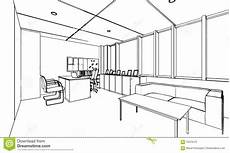 Perspective Office Outline Sketch Drawing Perspective Of A Space Office Stock