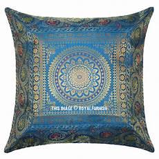 turquoise decorative unique mandala silk throw pillow