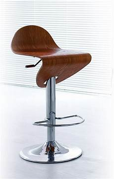 Classic Stool Design Contemporary Light Zebrano Wood Finish Curved Bar Stool