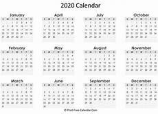 Free Printable Yearly Calendars 2020 Print Free Calendar 2020