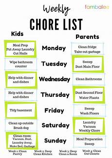 Weekly Chores Printable Weekly Chore List For Parents Amp Kids Fambalee