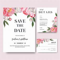 Pink Invitation Card Pink Peony Flowers Watercolor Bouquets Invitation Card