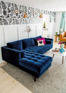 Blue Sectional Sofa 3d Image by 25 Stunning Living Rooms With Blue Velvet Sofas
