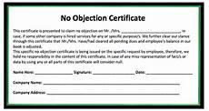 Affidavit For No Objection Certificate No Objection Certificate Template Microsoft Word Templates