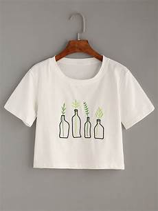 white plant embroidered t shirt shein sheinside