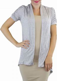 cap sleeve cardigans for tobeinstyle s ruched cap sleeve cardigan sweater ebay