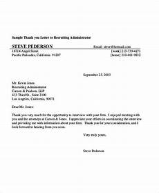 Sample Letter To Recruiter For Job Free 7 Sample Thank You Letters After Interview In Pdf