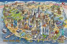 New York Malvorlagen Pdf New York City Illustrated Map Painting By Rabinky