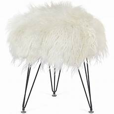 Esituro Ottoman Padded Footstool Fur Pouffe Chair by Homebeez Faux Fur Foot Stool Ottoman Soft Compact Padded