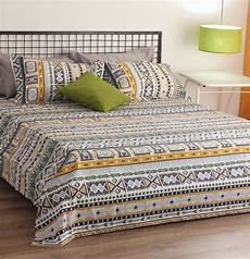aztec cotton bed sheet green with 2 pillow covers thoppia